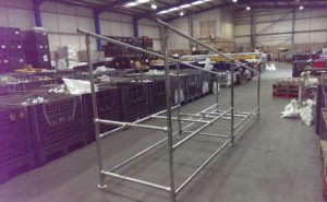 wheelchair ramp made from galvanised steel tubes and key clamps