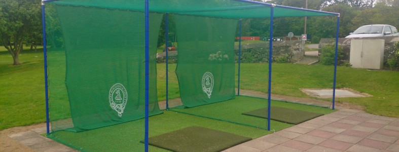 Key clamps solution for a golf driving range holding up protective netting