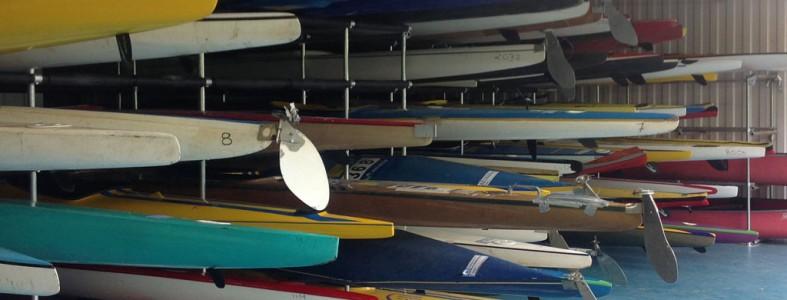 key clamp galvanised steel Storage racking system housing multiple kayaks